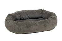 Bowsers Donut Dog Bed Pewter Bones Microvelvet: Free Shipping