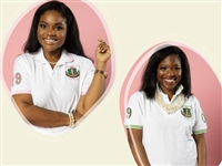 AKA White Polo with Pink or Green Stripe
