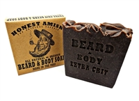 "Extra Grit Beard and Body Soap by Honest Amish ""The Best for your Beard! We Guarantee it!"" Extra Grit has the same base as 'Original' with betonite clay, wild cherry bark, and black walnut hulls for a gentle exfoliation and cleaning."