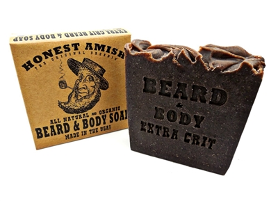 """Extra Grit Beard and Body Soap by Honest Amish """"The Best for your Beard! We Guarantee it!"""" Extra Grit has the same base as 'Original' with betonite clay, wild cherry bark, and black walnut hulls for a gentle exfoliation and cleaning."""