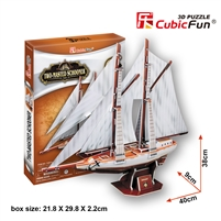 Two-Masted Schooner CubicFun T4007h 3D Puzzle 81 Pieces