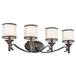 Kichler 45284MIZ Bathroom Light, Transitional Bath 4-Light Fixture - Mission Bronze