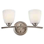 Kichler 45359BPT Bathroom Light, Transitional Bath 2-Light Fixture - Brushed Pewter