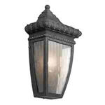 Kichler 49130BKG Outdoor Light, Classic (Formal Traditional) Wall Lantern 1 Light Fixture - Black with Gold