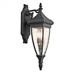 Kichler 49131BKG Outdoor Light, Classic (Formal Traditional) Wall Lantern 2 Light Fixture - Black with Gold