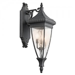 Kichler 49132BKG Outdoor Light, Classic (Formal Traditional) Wall Lantern 3 Light Fixture - Black with Gold