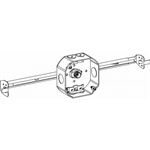 "Orbit 4RB-NM-BHA Electric Box, 1 1/2"" Deep w/Non-Metallic (NM) Clamps, Adjustable Bar Hanger & 1/2"" & Loom Knockouts - 4"" Octagonal"