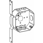 "Orbit 4RB-NM-FB Electric Box, 1 1/2"" Deep w/Non-Metallic (NM) Clamps, FB Bracket & 1/2"" & Loom Knockouts - 4"" Octagonal"