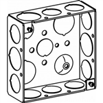 "Orbit 4SB-50/75 Electric Box, 1 1/2"" Deep Welded Box w/1/2"" & 3/4"" Knockouts - 4"" Square"