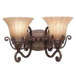 Kichler 5056CZ Bathroom Light, European Bath Strip 2-Light Fixture - Carre Bronze