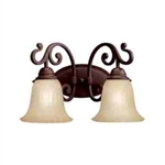 Kichler 5988CZ Bathroom Light, Transitional Bath 2-Light Fixture - Carre Bronze