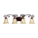 Kichler 5990CZ Bathroom Light, Transitional Bath 4-Light Fixture - Carre Bronze