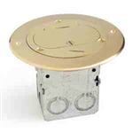 Lew Electric 612-RSS-1-TEL Floor Box, Drop In for Power/Data, Lid for Single Receptacle, Flip Cover - Brass