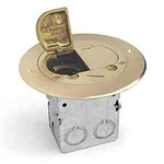 Lew Electric 612-RSS-2 Floor Box, Drop In for Power/Data, Dual Flip Lid Cover - Brass