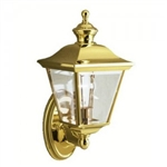 Kichler 9713PB Outdoor Light, Classic (Formal Traditional) Wall 1 Light Fixture - Polished Brass