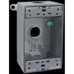 B3-3/4 Weatherproof Single Outlet 3 Hole Box 3/4""