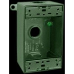 "B3Vg-3/4 Weatherproof Single Outlet 3 Hole Box 3/4"" Verde Green"