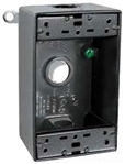 B4B Weatherproof Single Outlet 4 Hole Box 1/2 Black