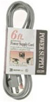 Coleman Cable 6 Ft. 16-3 Replacement Power Supply Cord-Gray
