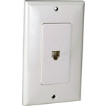 Orbit DWJ-64-W Wall Jack, Decorative Modular 1 x RJ11 Jacks - White