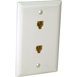 Orbit DWJ-642-W Wall Jack, Decorative Modular 2 x RJ11 Jacks - White