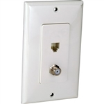 Orbit DWJ-64F-W Wall Jack, Decorative Modular 1 x RJ11 Jack & 1 x F-Connectors - White