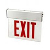 120-277VAC Double Sided LED Edge Lit Exit Sign with Battery Backup-Red Letters