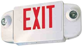 Elco Lighting 120-277V LED Exit Sign and Emergency Light Combo-Red Letters