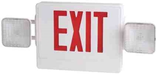 Elco Lighting Combo Emergency Exit Lighting Sign-White Box with Red Lettering
