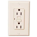 GFCI 15A Ground Fault Circuit Interrupter Receptacle with Wallplate-Almond