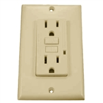 GFCI 15A Ground Fault Circuit Interrupter Receptacle with Wallplate-Ivory