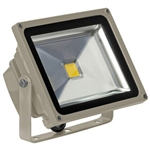 30 Watt - LED - Waterproof Flood Light Fixture Stark White - Operates at 100 to 240 Volts - 120 Degree Beam Angle - Light Grey Housing