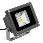 10 Watt - LED - Waterproof Flood Light Fixture Warm White - Operates at 85 to 265 Volts - 80 Degree Beam Angle - Grey Housing