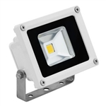 10 Watt - LED - Waterproof Flood Light Fixture Warm White - Operates at 85 to 265 Volts - 80 Degree Beam Angle - White Housing