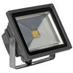 30 Watt - LED - Waterproof Flood Light Fixture Soft White - Operates at 85 to 265 Volts - 100 Degree Beam Angle - Grey Housing