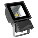 80 Watt - LED - Waterproof Flood Light Fixture Soft White - Operates at 85 to 265 Volts - 80 Degree Beam Angle - Grey Housing