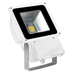 80 Watt - LED - Waterproof Flood Light Fixture Soft White - Operates at 85 to 265 Volts - 80 Degree Beam Angle - White Housing