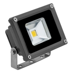 10 Watt - LED - Waterproof Flood Light Fixture Soft White - Operates at 10 to 30 VDC - 80 Degree Beam Angle - Grey Housing