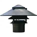 "Dabmar LV104-B  Cast Aluminum Three Tier Pagoda Light with 3.00"" Base Black"