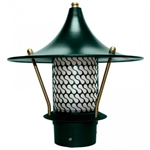 "Dabmar LV106B-G  Cast Aluminum Flair Top Pagoda Light with 3.00"" Base Green"