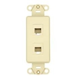 Leviton Decora Insert Flush Mount 6P6C Telephone Jack-Almond