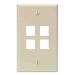 Leviton 1-Gang QuickPort Wall Plate Four-Port-Ivory