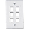 Leviton 1-Gang QuickPort Wall Plate Six-Port-White