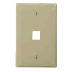 Leviton 1-Gang QuickPort Wall Plate Midway Sized Single Port-Ivory