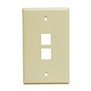 Leviton 1-Gang QuickPort Wall Plate Midway Sized Two Port-Ivory