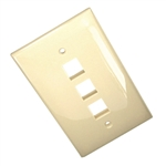 Leviton 1-Gang QuickPort Wall Plate Midway Sized Three Port-Ivory