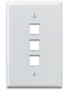 Leviton 1-Gang QuickPort Wall Plate Midway Sized Three Port-White