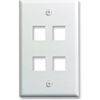 Leviton 1-Gang QuickPort Wall Plate Midway Sized Four Port-White