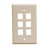 Leviton 1-Gang QuickPort Wall Plate Midway Sized Six Port-Ivory