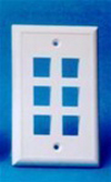 Leviton 1-Gang QuickPort Wall Plate Midway Sized Six Port-White